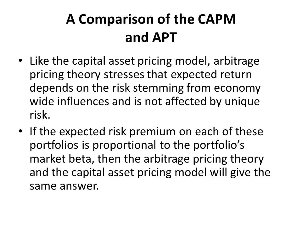 A Comparison of the CAPM and APT