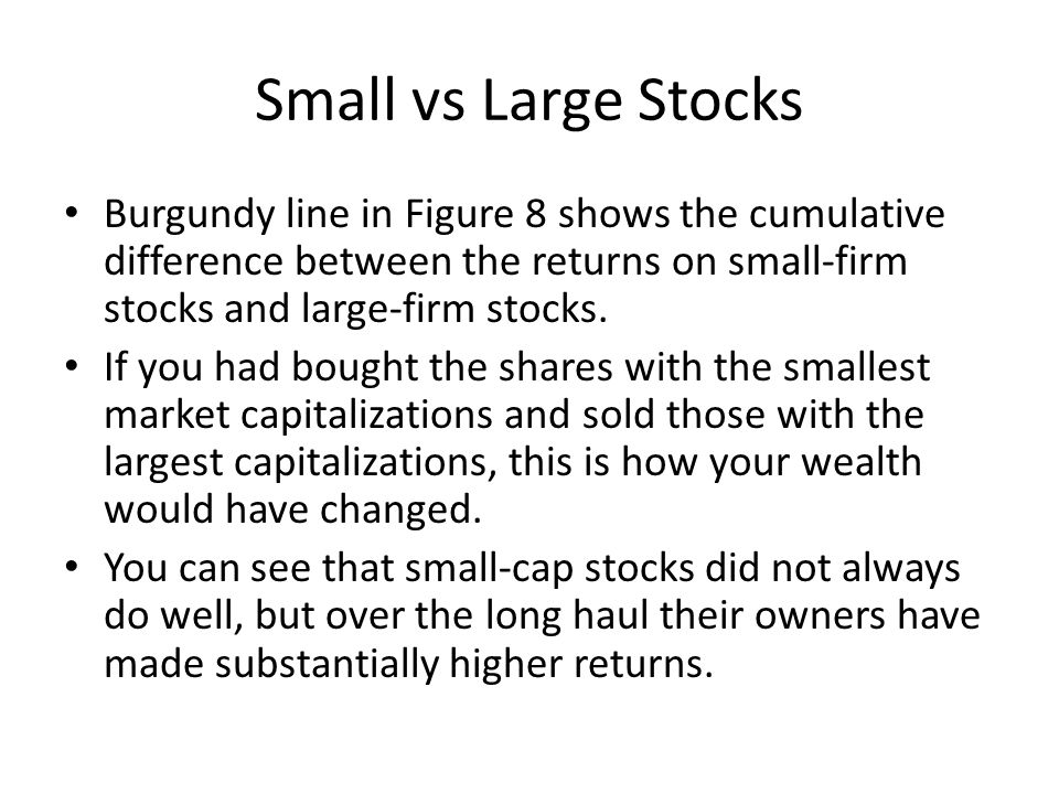 Small vs Large Stocks Burgundy line in Figure 8 shows the cumulative difference between the returns on small-firm stocks and large-firm stocks.