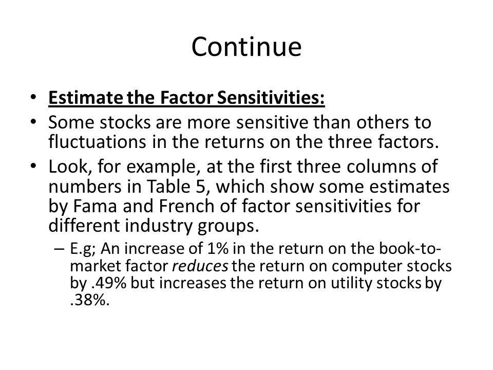 Continue Estimate the Factor Sensitivities: