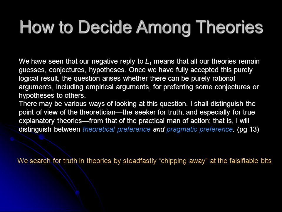 How to Decide Among Theories