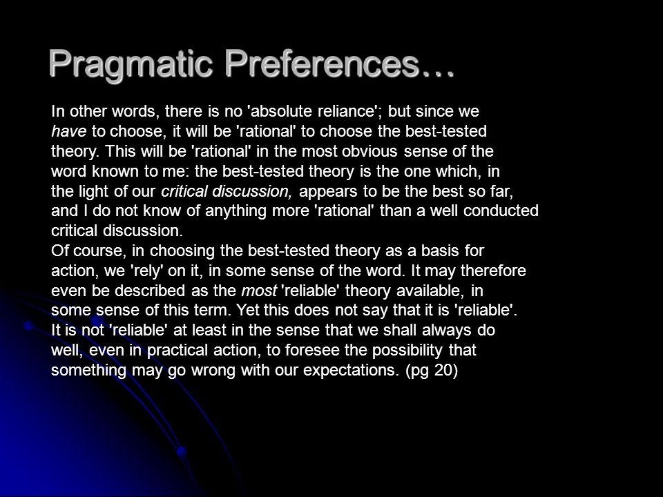 Pragmatic Preferences…