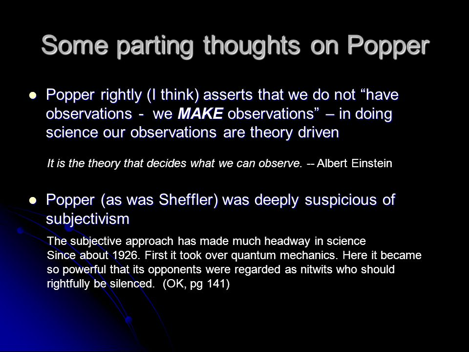 Some parting thoughts on Popper