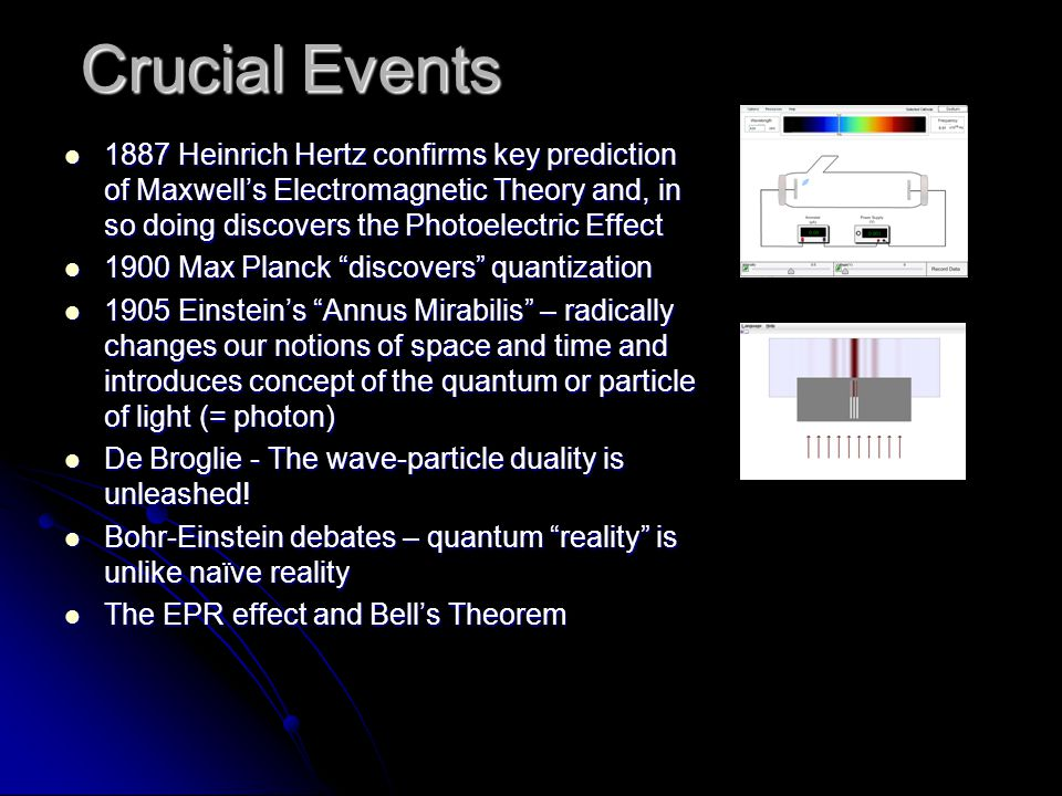 Crucial Events 1887 Heinrich Hertz confirms key prediction of Maxwell's Electromagnetic Theory and, in so doing discovers the Photoelectric Effect.