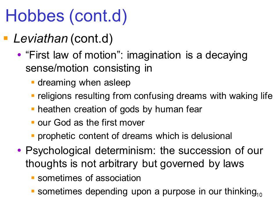 Hobbes (cont.d) Leviathan (cont.d)