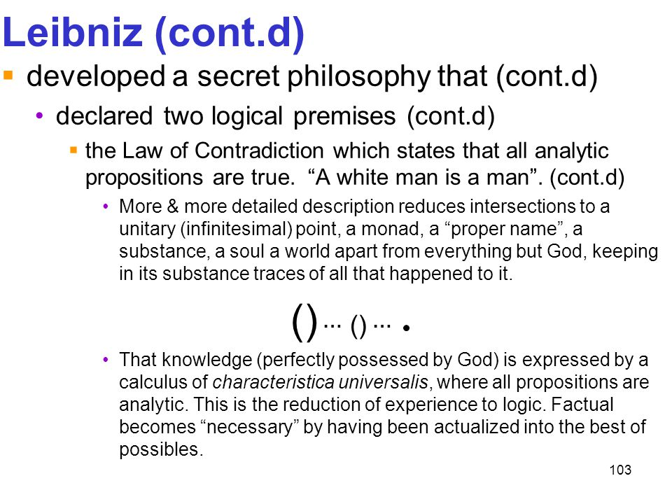 Leibniz (cont.d) () … () … developed a secret philosophy that (cont.d)