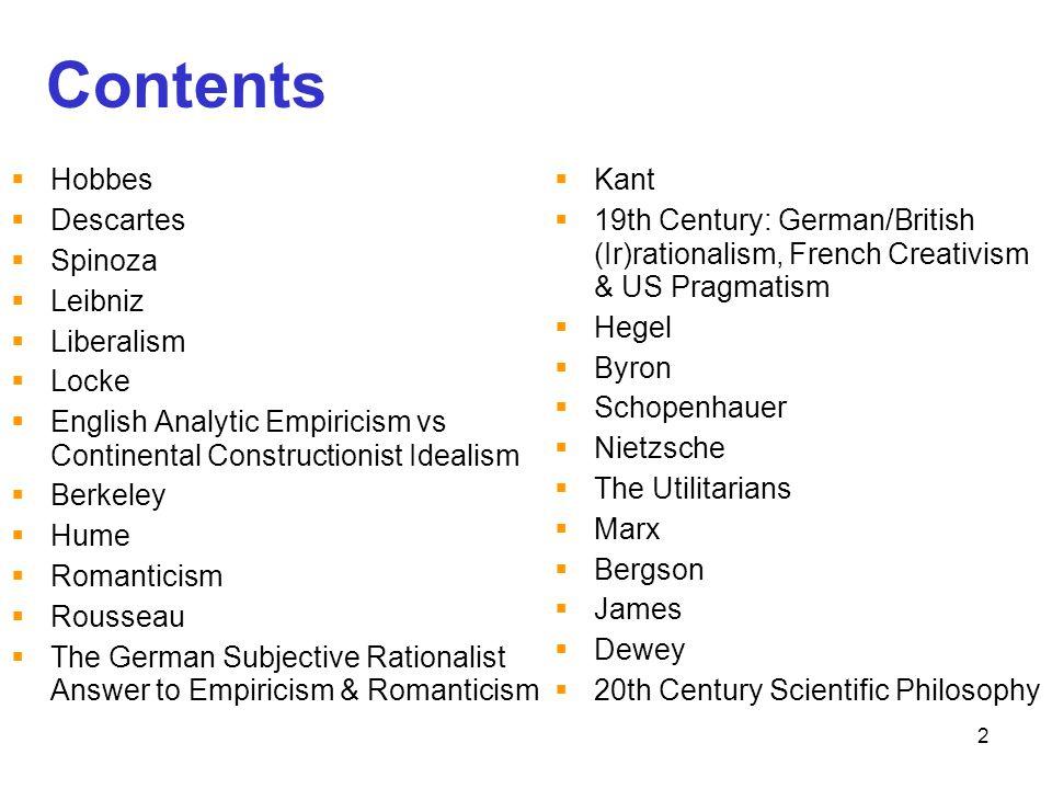 Contents Hobbes Descartes Spinoza Leibniz Liberalism Locke