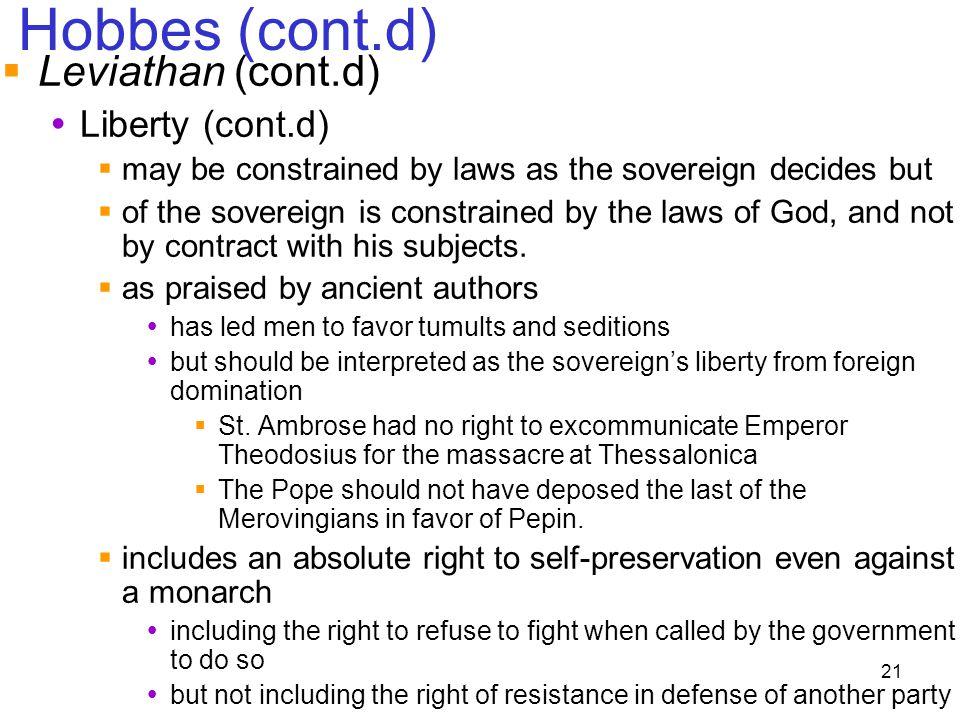 Hobbes (cont.d) Leviathan (cont.d) Liberty (cont.d)