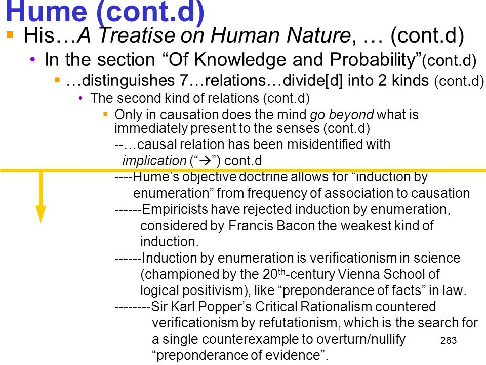Hume (cont.d) His…A Treatise on Human Nature, … (cont.d)