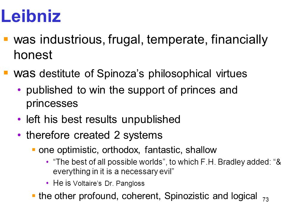Leibniz was industrious, frugal, temperate, financially honest