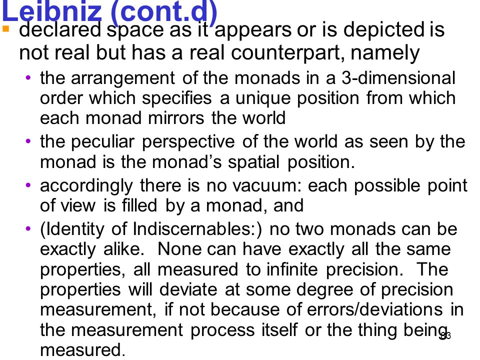 Leibniz (cont.d) declared space as it appears or is depicted is not real but has a real counterpart, namely.