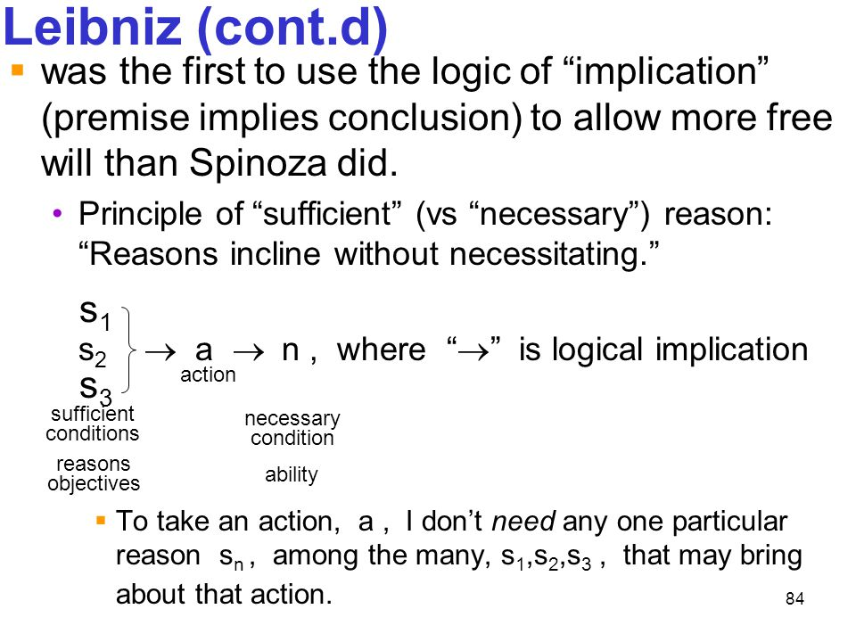Leibniz (cont.d) was the first to use the logic of implication (premise implies conclusion) to allow more free will than Spinoza did.