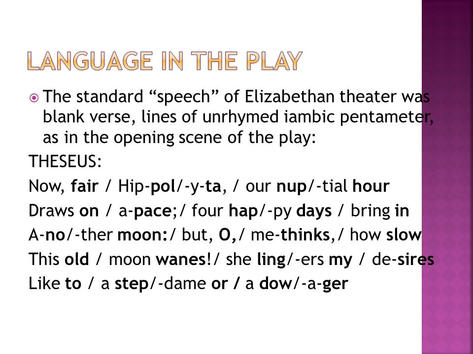 language in the play