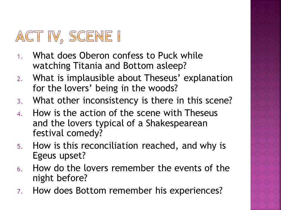 act iv, scene i What does Oberon confess to Puck while watching Titania and Bottom asleep