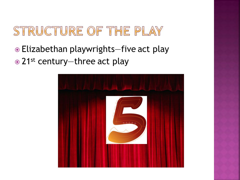 Structure of the play Elizabethan playwrights—five act play