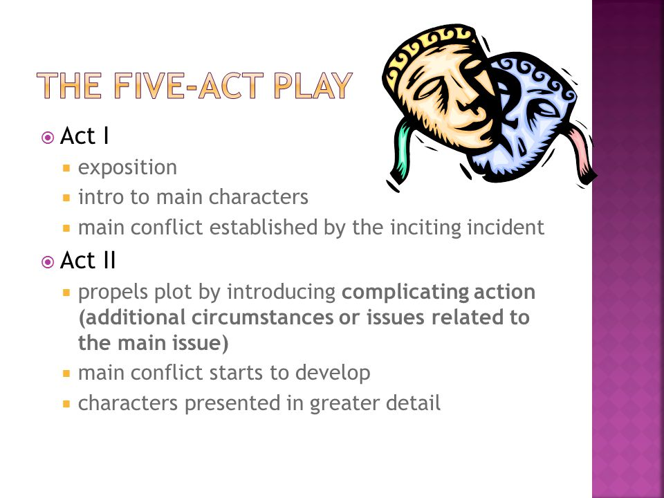 the five-act play Act I Act II exposition intro to main characters
