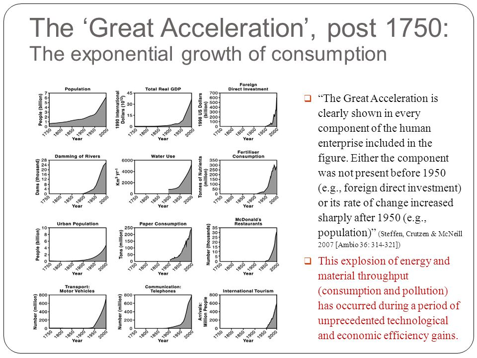 The 'Great Acceleration', post 1750: The exponential growth of consumption