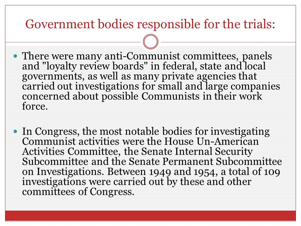 Government bodies responsible for the trials: