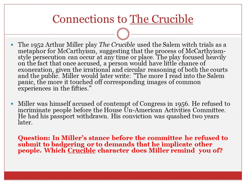 Connections to The Crucible