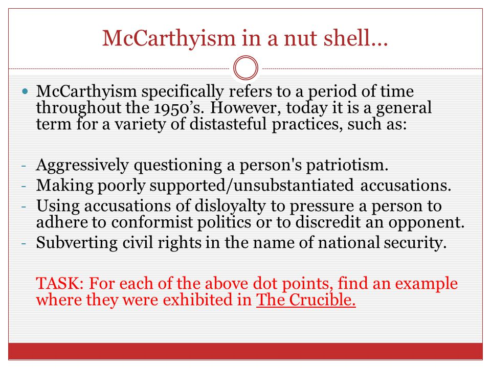 McCarthyism in a nut shell…