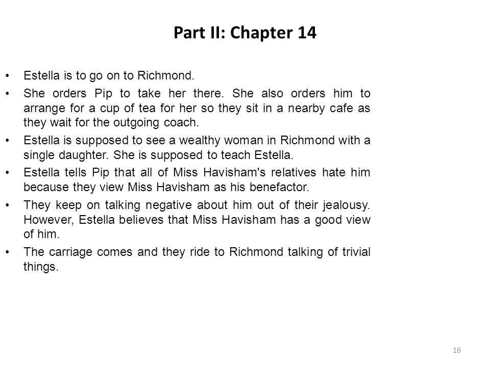 Part II: Chapter 14 Estella is to go on to Richmond.