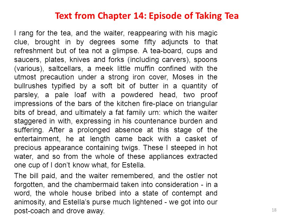 Text from Chapter 14: Episode of Taking Tea