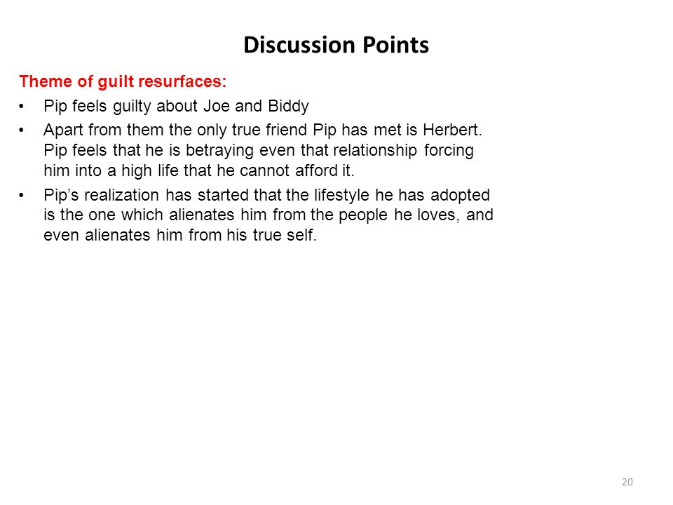 Discussion Points Theme of guilt resurfaces: