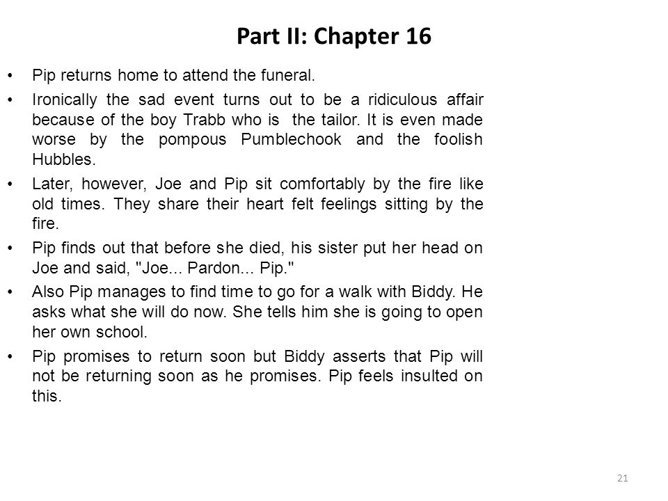 Part II: Chapter 16 Pip returns home to attend the funeral.