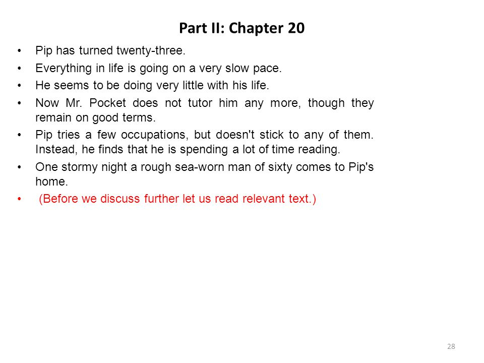 Part II: Chapter 20 Pip has turned twenty-three.
