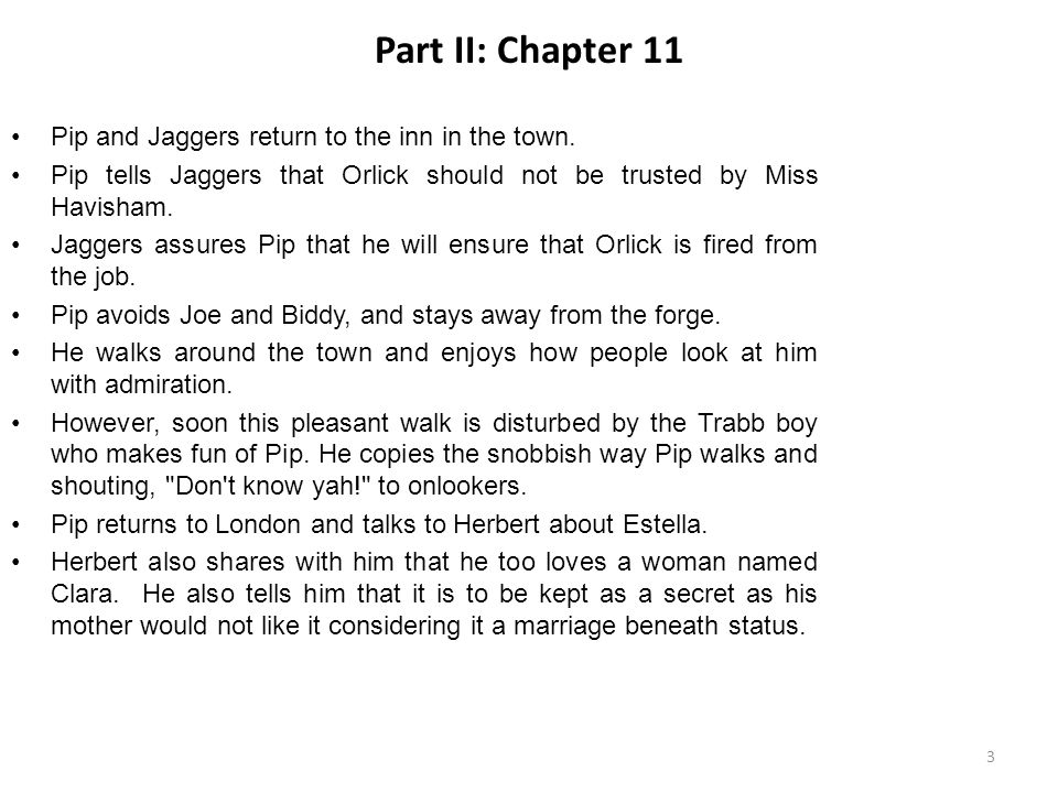 Part II: Chapter 11 Pip and Jaggers return to the inn in the town.