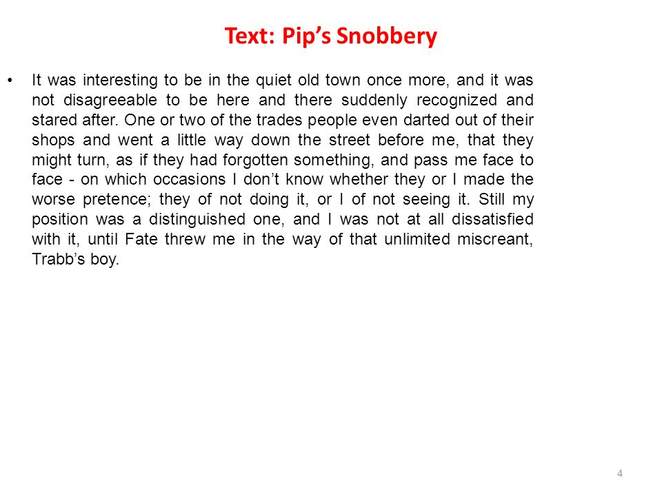 Text: Pip's Snobbery