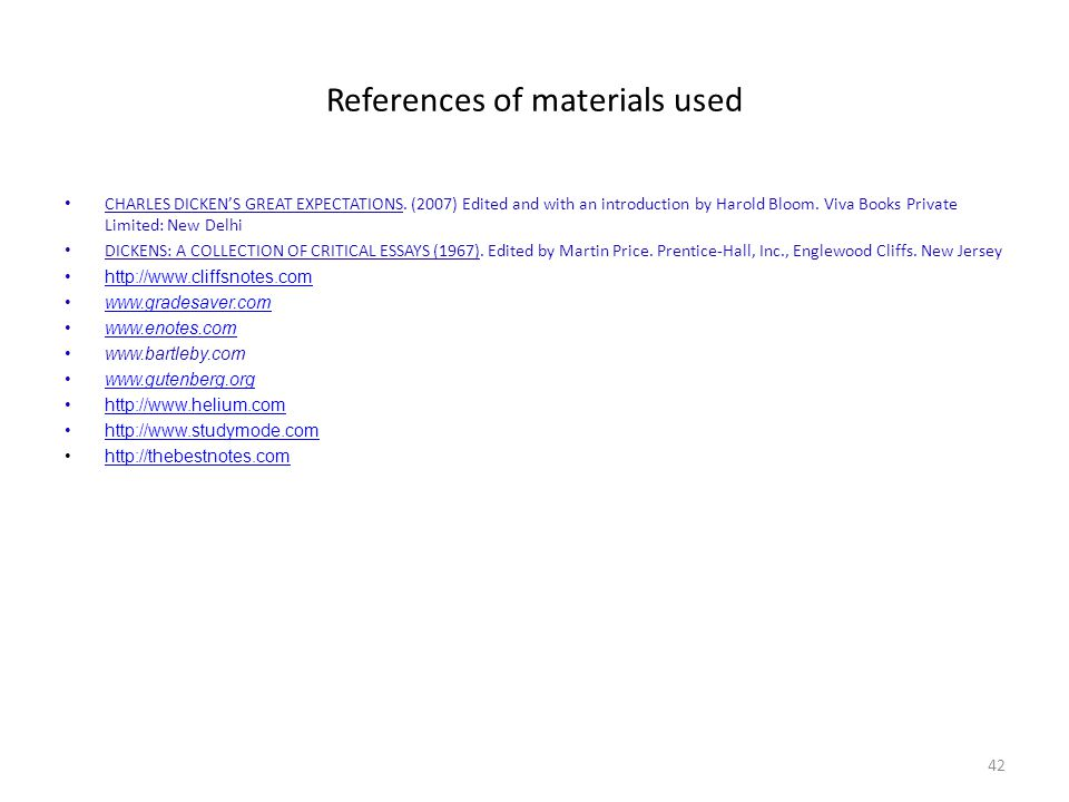 References of materials used