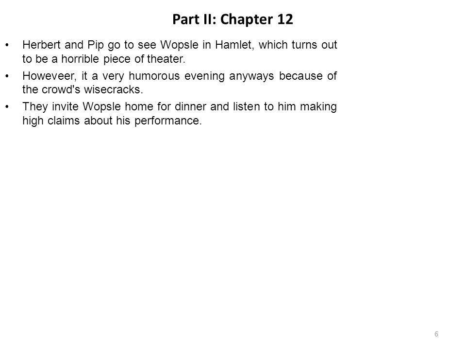Part II: Chapter 12 Herbert and Pip go to see Wopsle in Hamlet, which turns out to be a horrible piece of theater.