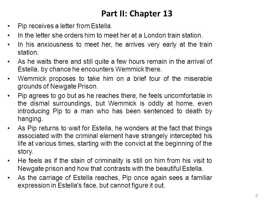 Part II: Chapter 13 Pip receives a letter from Estella.