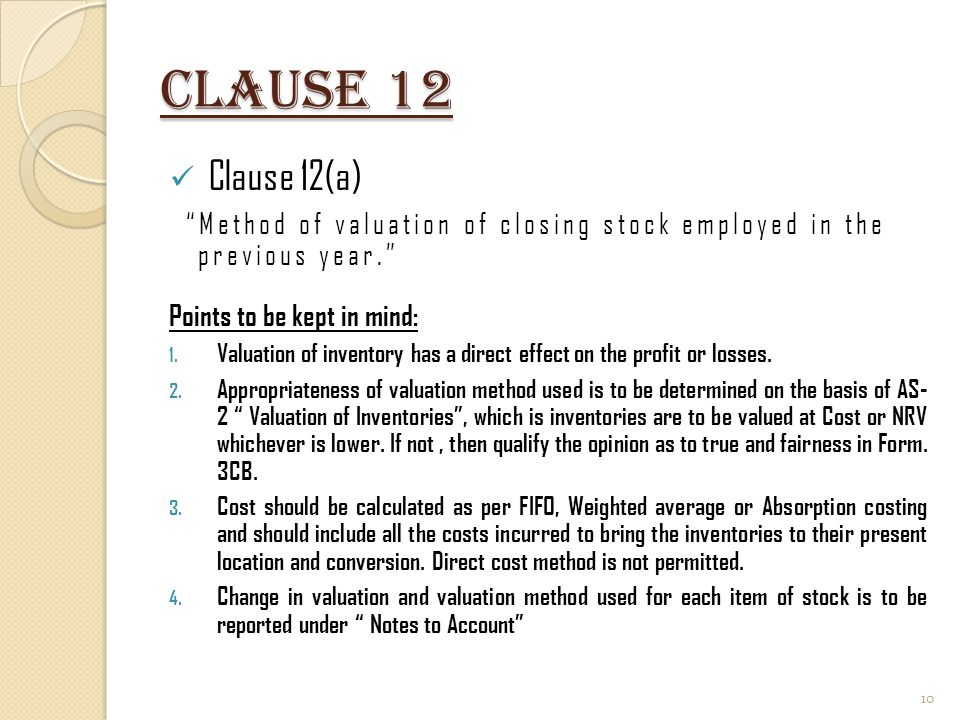 Clause 12 Clause 12(a) Method of valuation of closing stock employed in the previous year.