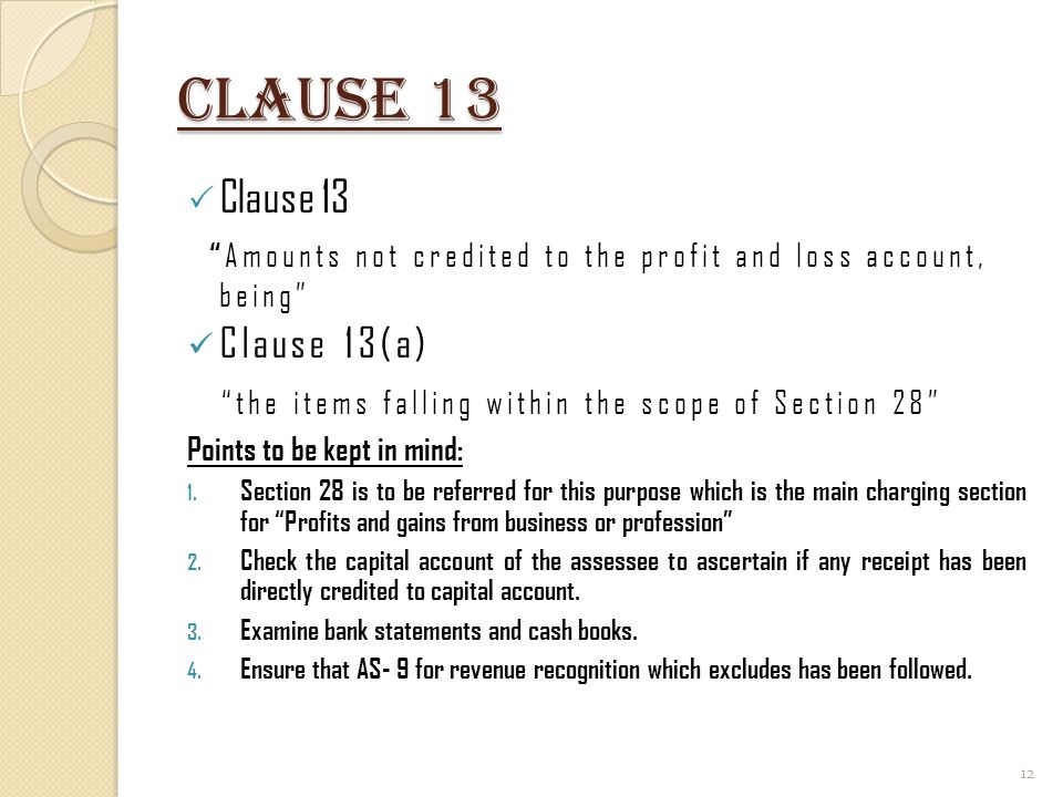 Clause 13 Clause 13 the items falling within the scope of Section 28