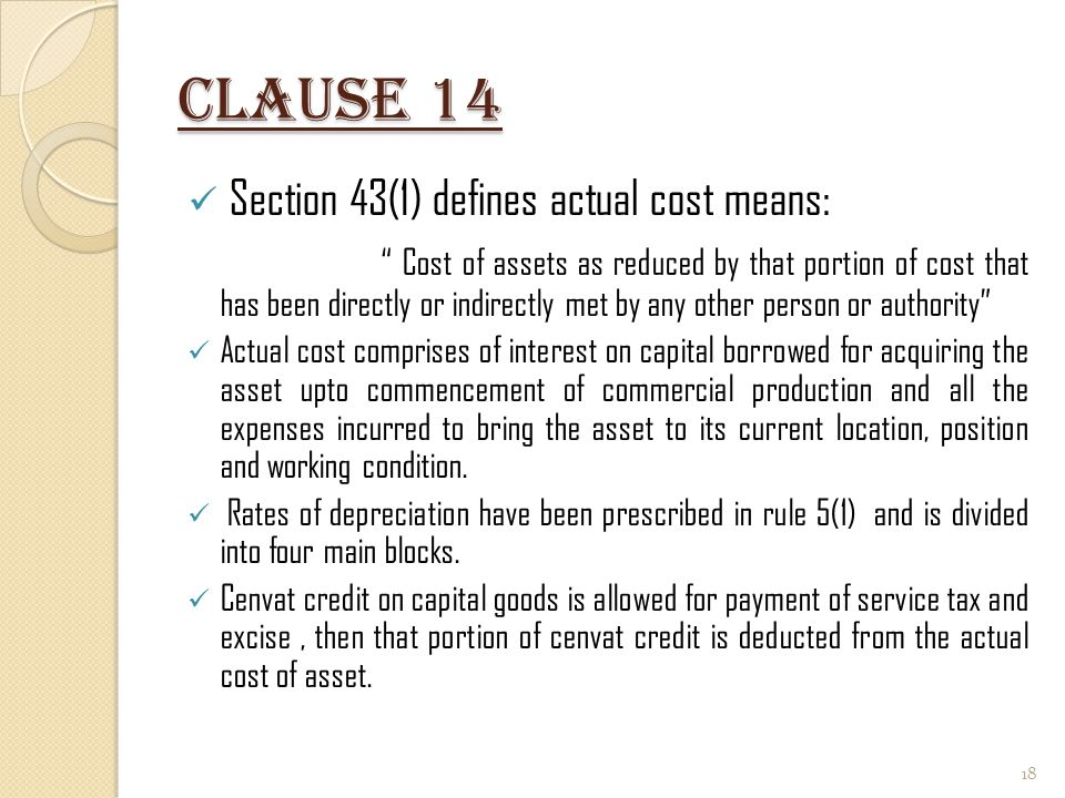 Clause 14 Section 43(1) defines actual cost means: