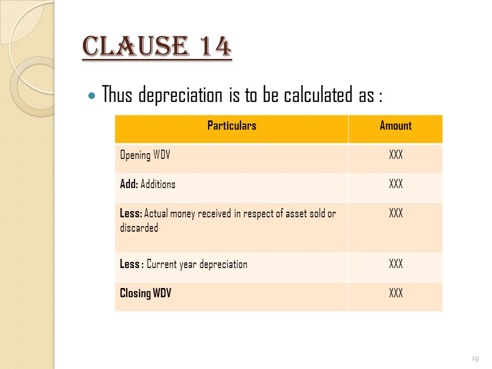 Clause 14 Thus depreciation is to be calculated as : Particulars