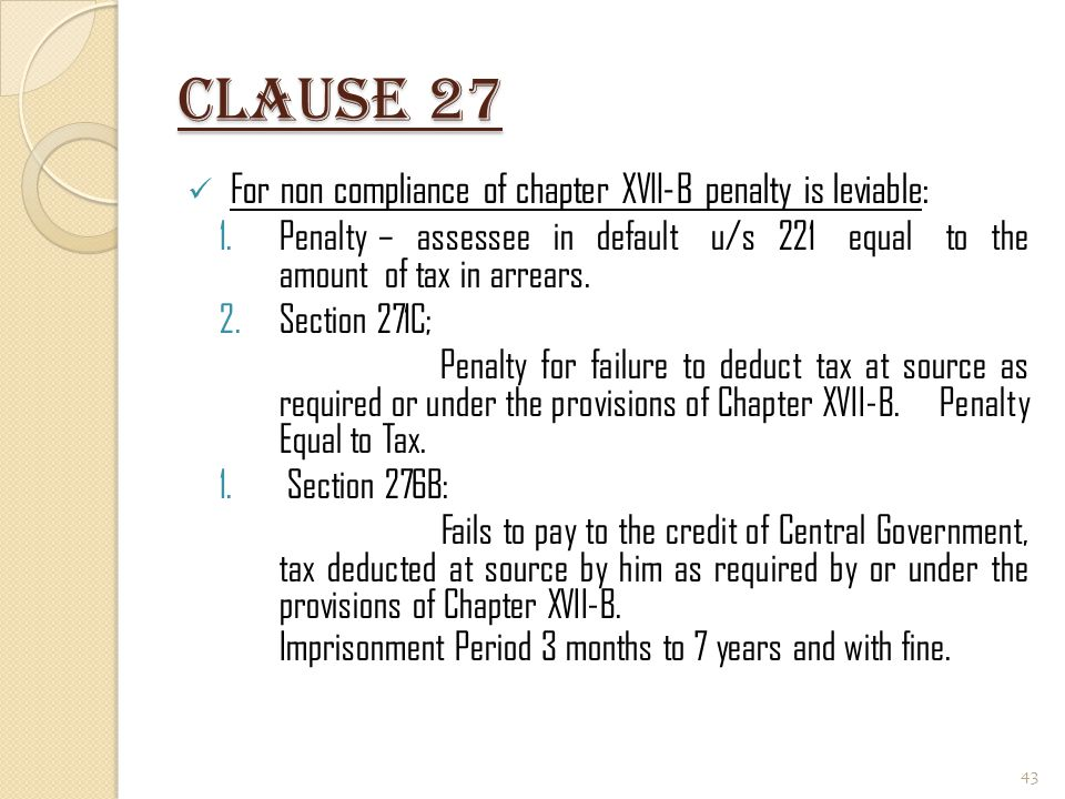 Clause 27 For non compliance of chapter XVII-B penalty is leviable: