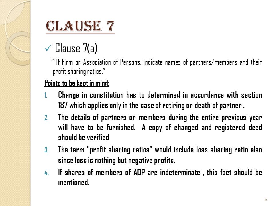 Clause 7 Clause 7(a) If Firm or Association of Persons, indicate names of partners/members and their profit sharing ratios.