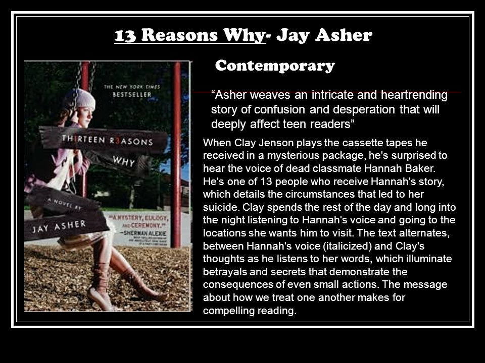 13 Reasons Why- Jay Asher Contemporary