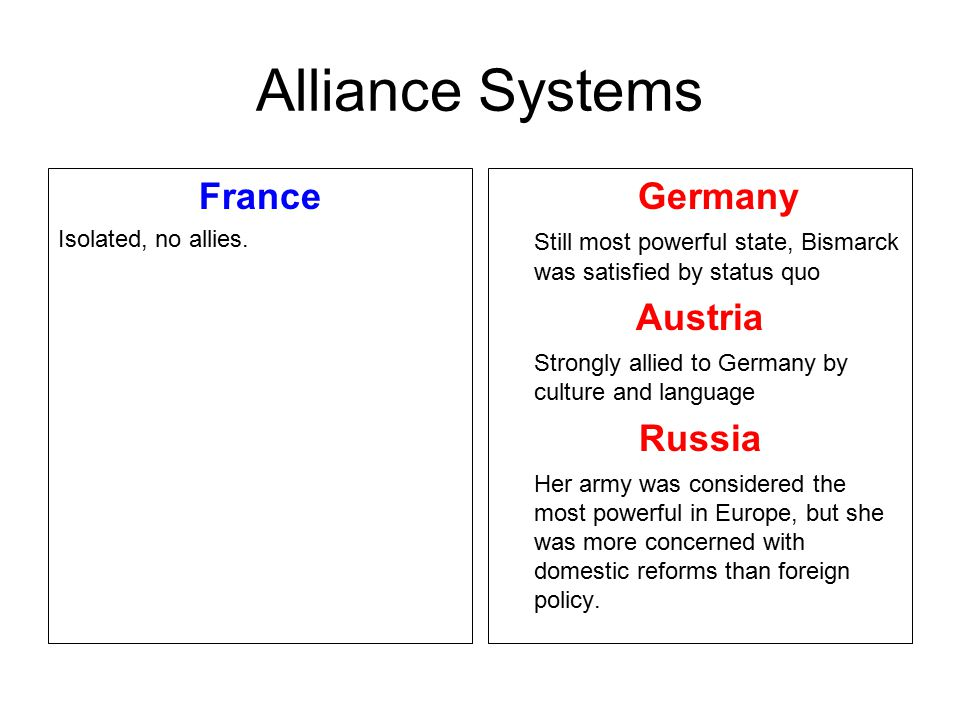 Alliance Systems France Germany Austria Russia