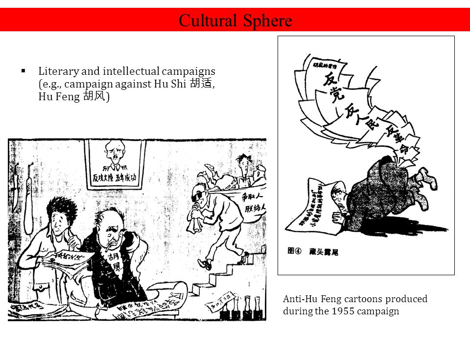 Cultural Sphere Literary and intellectual campaigns (e.g., campaign against Hu Shi 胡适, Hu Feng 胡风)