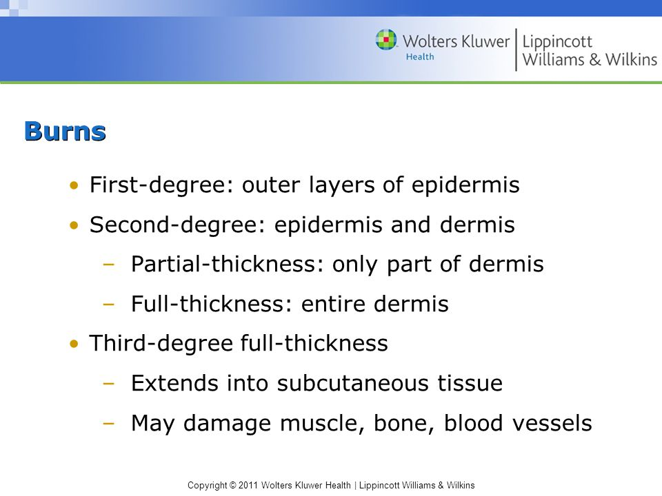 Burns First-degree: outer layers of epidermis