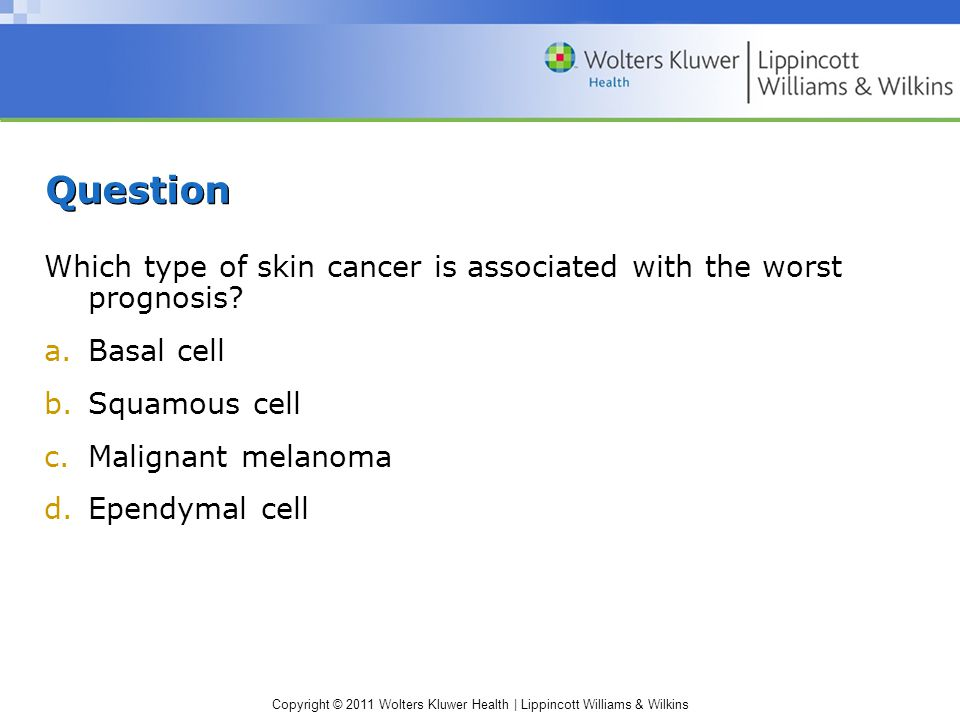 Question Which type of skin cancer is associated with the worst prognosis Basal cell. Squamous cell.