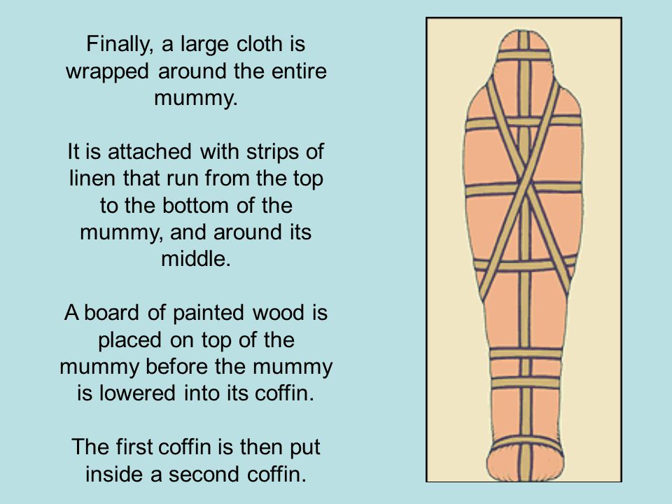 Finally, a large cloth is wrapped around the entire mummy.