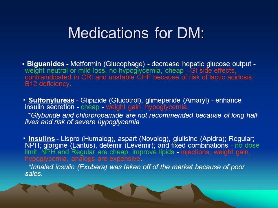 Medications for DM: