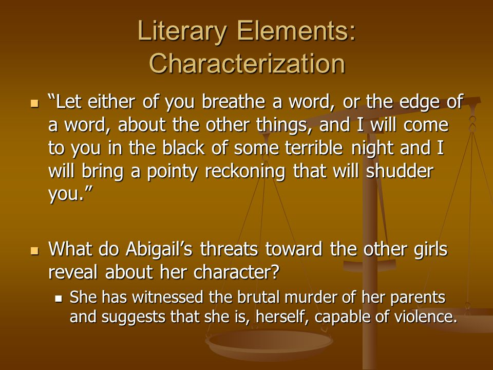 Literary Elements: Characterization