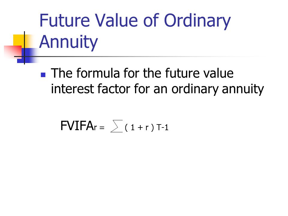 Future Value of Ordinary Annuity