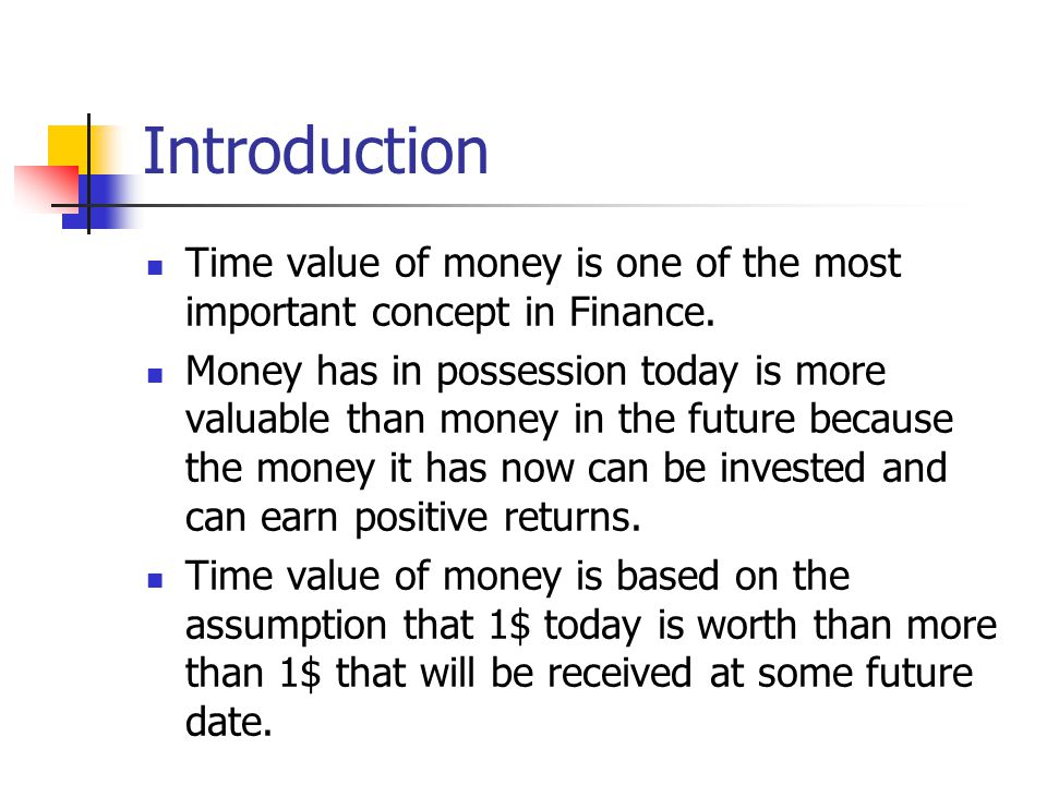 Introduction Time value of money is one of the most important concept in Finance.