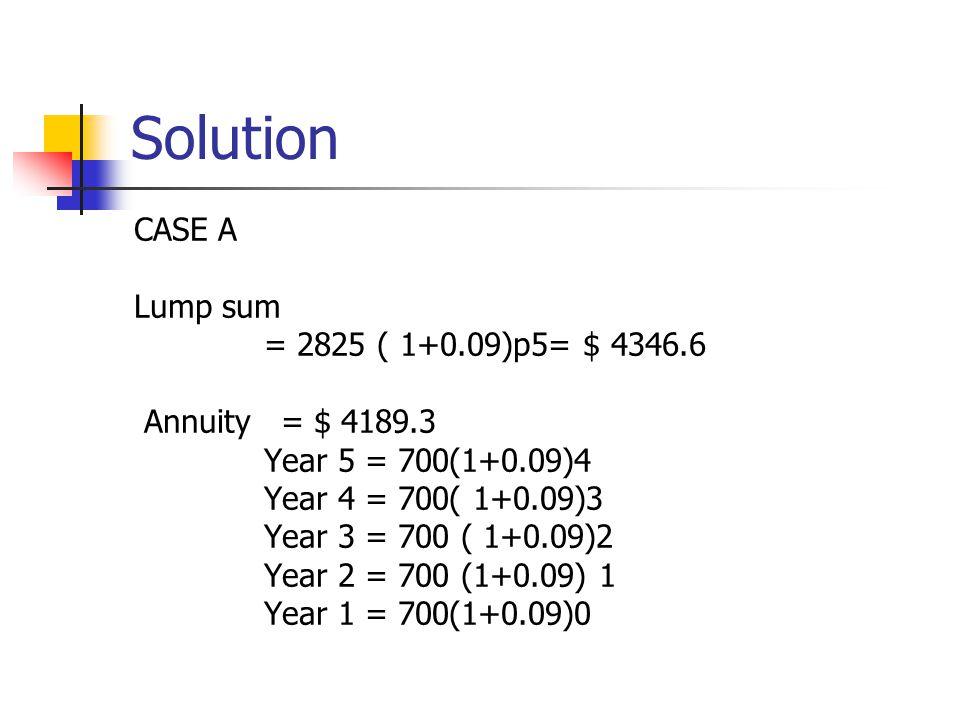Solution CASE A Lump sum = 2825 ( 1+0.09)p5= $ 4346.6